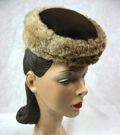 1940's Vintage Tiny Toy Tilt Hat with Faux Fur New York Creation J.J. Haggarty. $49.00, via Etsy.