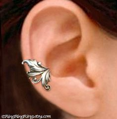 925. Royal Leaf - Sterling Silver ear cuff earring, non pierced earcuff jewelry for men and women 110612. $40.00, via Etsy.