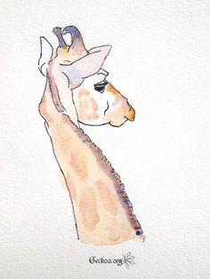 Dessin de girafe feutre et aquarelle de Geckoo