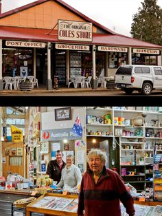 """Wilmot Tasmania, the home of the """"Original Coles Store"""". Longtime resident Dennis Maxwell with owners Andrew & Pauline Towning. Article and photo by Carol Haberle for www.think-tasmania.com"""