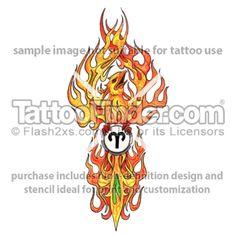 TattooFinder.com: Aries Rising tattoo design by Ray Reasoner, phoenix, astrology, zodiac, rebirth, flames, fire, symbol