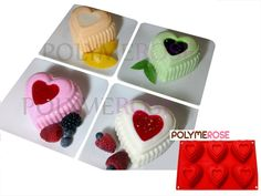 HEARTS Mold Pan for Cupcakes, Muffins, Desserts, Jello. 6 Cavity - Silicone by Polymerose T.M. > You can get additional details at : baking essentials