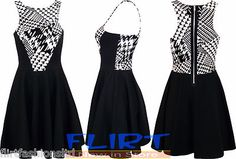Womens Skater Dress Ladies Monochrome Panel Top Zip Back Sexy Party Dresses 8-14