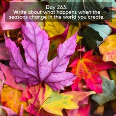 Day 263 of 365 Days of Writing Prompts: Write about what happens when the seasons change in the world you create. Erin: The crops died on the eve of each season change. After the day of darkness, t…