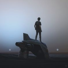 """Post-Apocalyptic Illustrations by Yuri Shwedoff Russian artist Yuri Shwedoff has created an intensely atmospheric vision of the """"end of days,"""" one that blends fantasy imagery with science fiction. Jaal Mass Effect, Yuri Shwedoff, These Broken Stars, Humans Series, Post Apocalyptic Art, Space Series, Dystopian Future, Spaceship Art, Spaceship Concept"""