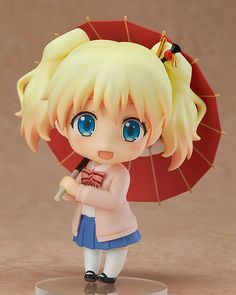 The blond haired, blue-eyed English girl who adores Japanese culture. From the anime series Hello!! Kin-iro Mosaic comes a Nendoroid of the English girl who adores both Japan and Shinobu, Alice Cartelet! She comes with three expressions including a cheerful smile, an excited expression as well as a spaced out expression with a pale face. Optional parts include her favorite Japanese umbrella as wel... #figure