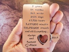 7th Year Anniversary Engraved Metal Copper Love by CopperGiftIdeas