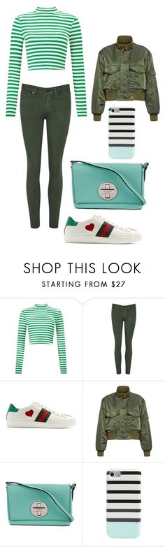 """""""Green stripes"""" by sarah-m-smith ❤ liked on Polyvore featuring Miss Selfridge, Gucci, Nili Lotan and Kate Spade"""