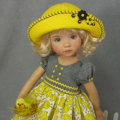 """~HERE A CHICK, THERE A CHICK ~ Easter Dress SET for 13"""" Effner Little Darling  #ClothingAccessories"""