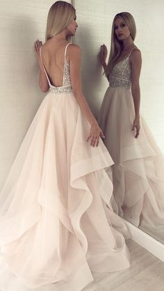 A Line V Neck Backless Light Champagne Prom Dress With Beading luxury beading long prom dresses, chic light champagne organza party gowns, modest backless long prom dresses for teens Elegant Dresses, Pretty Dresses, Sexy Dresses, Denim Dresses, 60s Dresses, Classy Prom Dresses, Beautiful Long Dresses, Pink Prom Dresses, Gorgeous Dress