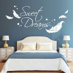 """10962 Wall tattoo Lettering """"Sweet Dreams"""" with feathers Stars Sticker Dreams Home Bedroom, Bedroom Wall, Bedroom Decor, Wall Stickers Brick, Wall Decals, Brick Style Tiles, Home Gym Decor, Wall Painting Decor, Wall Tattoo"""