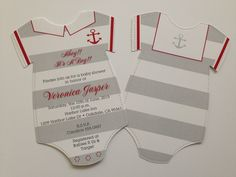 Sailor Suite Onesie Baby Shower Invitations Red and Grey Nautical by ItsAPerfectParty on Etsy