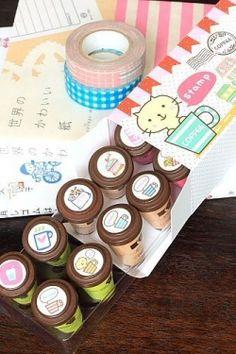 Handcraft Design Wood Rubber Stamp Set - Coffee
