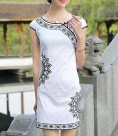 Sun Flowers White Linen Dress-zeniche.com SKU ab0429