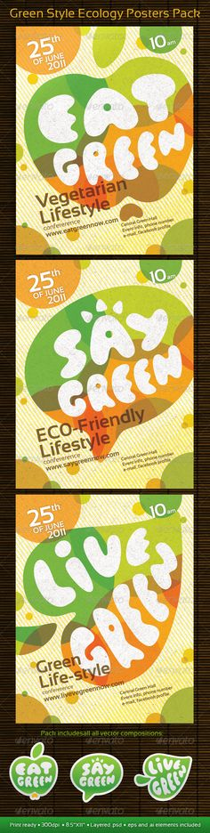 Green Style Ecology Posters Pack