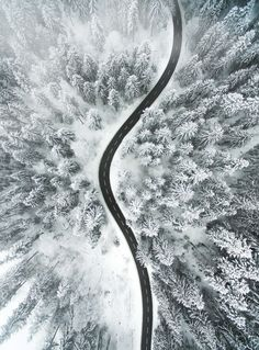 Buy Aerial Image of a Snowy Road by DinoReichmuth on PhotoDune. I took this image with my drone on a beautiful winter day. Wallpaper Winter, Travel Wallpaper, Aerial Images, Black And White Landscape, Camping, Drone Photography, Winter Time, Simply Beautiful, Artsy Fartsy