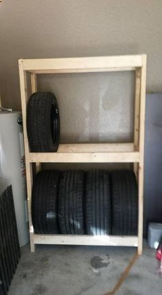 Shed Plans - Picture of DIY Budget Tire Rack (or shelves) for your garage - Now You Can Build ANY Shed In A Weekend Even If You've Zero Woodworking Experience!