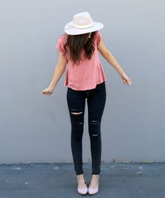 outfit with cute Madewell top | Katie Did What
