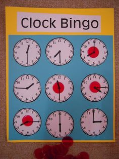 "Clock bingo! And other fun ""telling time"" activities...great way to use the set of mini student clocks the Learning Shop carries."