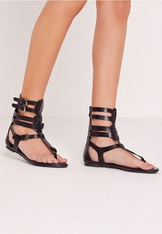 Strappy Ankle Flat Gladiator Sandals Black - Missguided