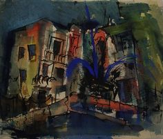 Vintage cityscape modernist watercolor signed W. Dreyer. Circa 1950's or 60's. From a Texas estate, this urban landscape is reminiscent of the San Antonio River Walk. Dark blue and greens on watercolo