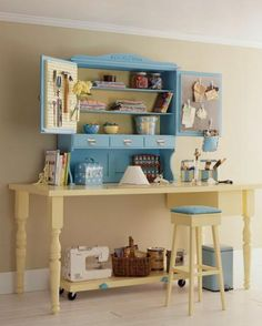 Create a work area out of a table, a hutch, and a rolling cart. Add pegboard to the cabinet doors to provide extra space for hanging supplies. Let the rolling cart hold heavier equipment and transport projects from one work area to another.