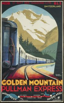 'Golden Mountain, Pullman Express' by Broders 'Golden Mountain, Pullman Express'. Rare original poster, dated circa 1930, Printed by Lucien Serre, Paris. Conservation linen mounted and unframed.