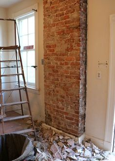 How to expose brick chimney under plaster walls. #exposed #brick