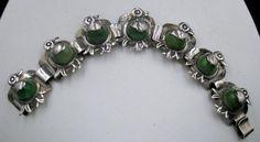 Vintage 1930's Mexico Sterling Duck Bracelet Green Onyx Belly  #vintagejewelry #silverjewelry #Mexicobracelet #sterlingsilver #duck #onyx #1930sjewelry  #Mexicojewelry  $249.00
