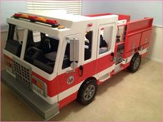 Ideas For Truck Bed Storage Ideas Man Cave Truck Toddler Bed, Diy Toddler Bed, Toddler Stuff, Toddler Boys, Firefighter Bedroom, Firefighter Baby, New Bed Designs, Kids Workbench, Wood Pallets