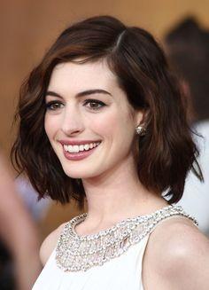 deep warm caramel brown on Anne Hathaway
