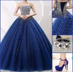 Lindo vestido azul marinho