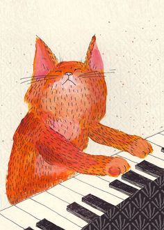 Ginger cat playing piano, 5x7 print; Lukaluka on etsy.com, Melbourne, Australia