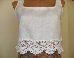 Linen тор  with hand-knitted lace crochet.