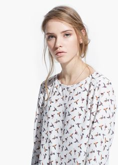 Hummingbird print blouse
