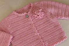Newborn and 3M Hand Crochet Baby Girls Cardigan in custom colour. {use as inspiration}
