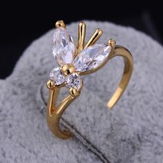 Fashion 18K Real Gold Plated Butterfly Shape Copper Jewelry Finger Ring Inlay Zircon Full Sizes