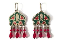 Recycled Tin Earrings with Beaded Fringe Green by TinMoonJewelryworks on Etsy. Green and red boho style. $48