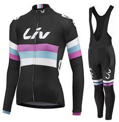 2015 Dames LIV Fietskleding Fietsshirt lange mouw + Lange fietsbroeken