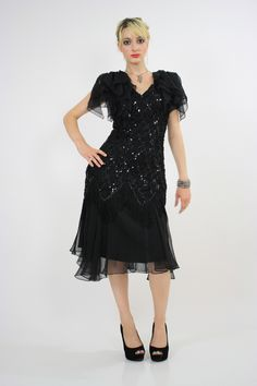 bc6017224f Vintage 80s sequin beaded cocktail party dress