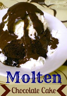 Molten Chocolate Cake - This is very easy to make and it tastes a LOT like the molten chocolate cake at Chili's (yes, there is fudge in the middle)! Back when I was in college, we would go to Chili's all the time. I would pretty much order the chips & salsa and then this molten chocolate cake Those were the good ol' days when that was an acceptable dinner… especially right before a final.