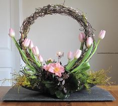 Crescent Flower Arrangement with the nice shape of the crescent can be very good idea to have the special arrangement for flower. That would be very beautiful flower arrangement. Easter Flower Arrangements, Flower Arrangement Designs, Beautiful Flower Arrangements, Elegant Flowers, Flower Designs, Floral Arrangements, Beautiful Flowers, Creative Flower Arrangements, Altar Flowers