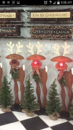 Cute tall rustic wood Christmas craft reindeer