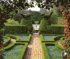 Bird topiary in hidcote garden
