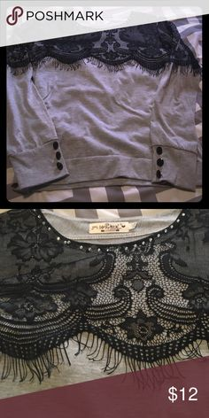 Beautiful gray w/ black lace long sleeve Comfy lightweight tee shirt material. Looks very dressy though! Bundle & save!!! Tops Tees - Long Sleeve