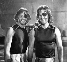 "Kurt Russell and his stunt double Dick Warlock on the set of ""Escape from New York"" Dir. John Carpenter 1981."