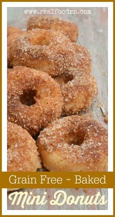Grain Free Mini Donuts. Enjoy all of the flavor of the fair donuts without the junk. Very easy to make, and no frying required! realfoodrn.com #minidonut #grainfreedonut