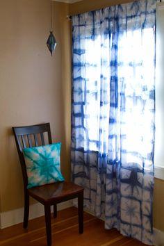 Shibori Curtains - Pair of Sheer Cotton Voile Curtain Panels, Indigo Tie-dye Curtains