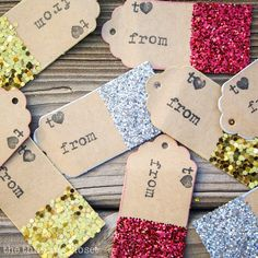 Glitter-Dipped Gift Tags - Dress up wine gifts!