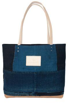 japanese boro indigo patchwork tote bag